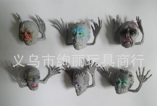 100 шт./лот, высокое качество, мини TPR, цвет, голова призрака, пальчиковые куклы, 3 см, пальчиковые куклы, подарок, новинка, игрушки haloween, игрушка ...