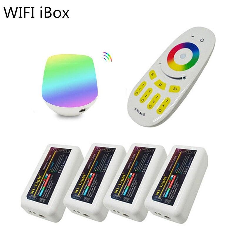1 комплект, светодиодный контроллер Mi-light WiFi iBox + 4 шт., 2,4G, DC12-24V, светодиодный контроллер RGBW + 4-зонный Радиочастотный пульт дистанционного упра...