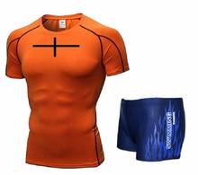 Hommes maillot de bain soutien-gorge T Shirt malles Boxers Shorts maillots de bain pantalons courts maillot de bain vêtements de natation manches courtes pour plage Spa piscine Cross