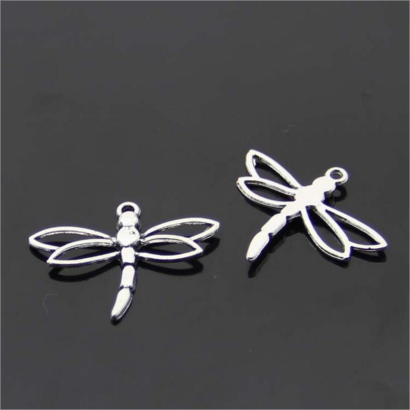 Lote de 20 unidades de colgantes de mariposa de libélula de plata antigua de 27x33mm para collares DIY, pulseras, pendientes, fabricación de joyas Z467