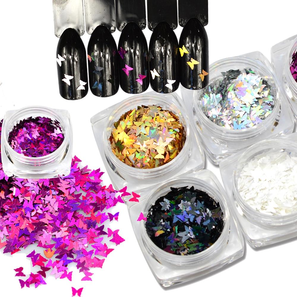 1pcs Nail Glitters Sequins Butterfly Shape Mix Colors Beauty Gel Nail Art Charms Shiny Paillette Spangles DIY 3D Decor SAHD01-05