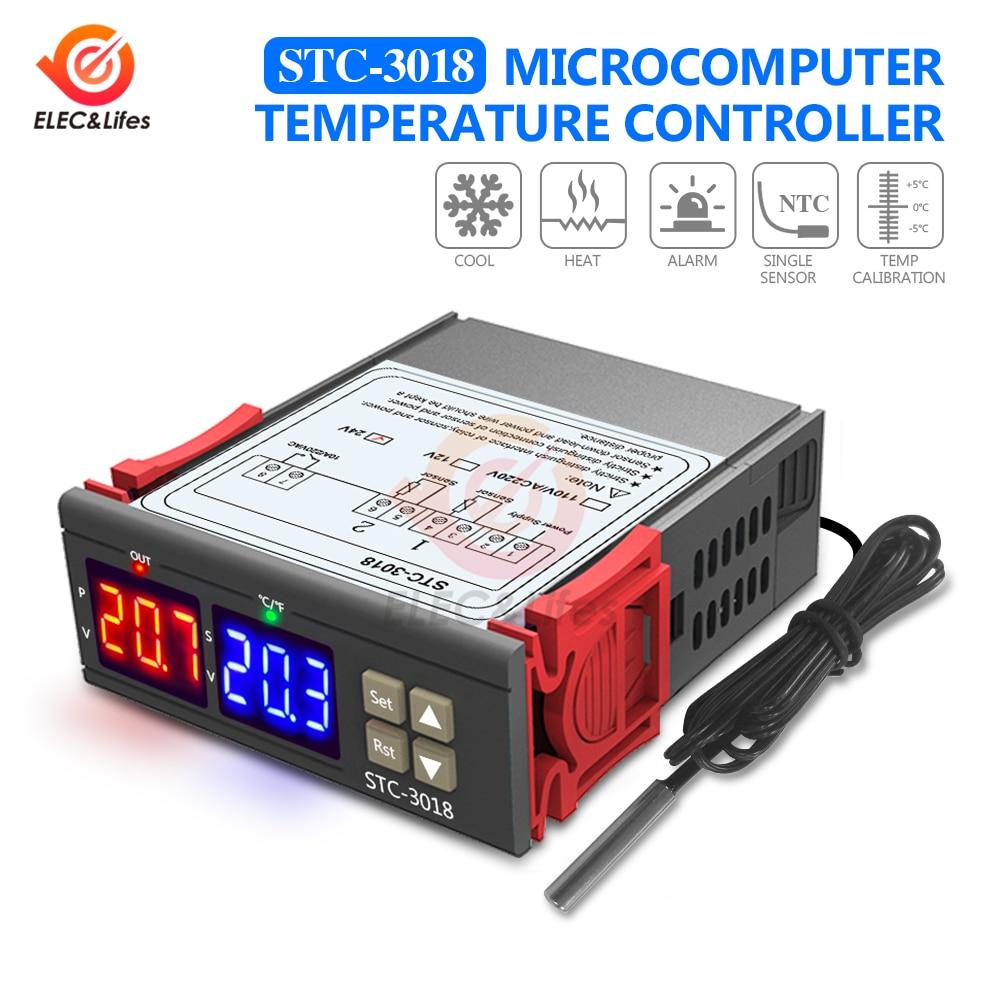 Termostato Digital AC 110V 220V 12V 24V DC regulador de temperatura STC-3018 interruptor para caja incubadora medidor de temperatura