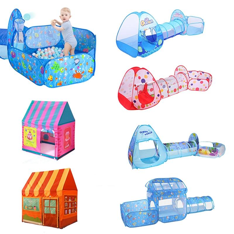 Детская палатка для игр в помещении и на свежем воздухе, портативная детская палатка с шариками, набор игрушек, складной детский игровой дом...
