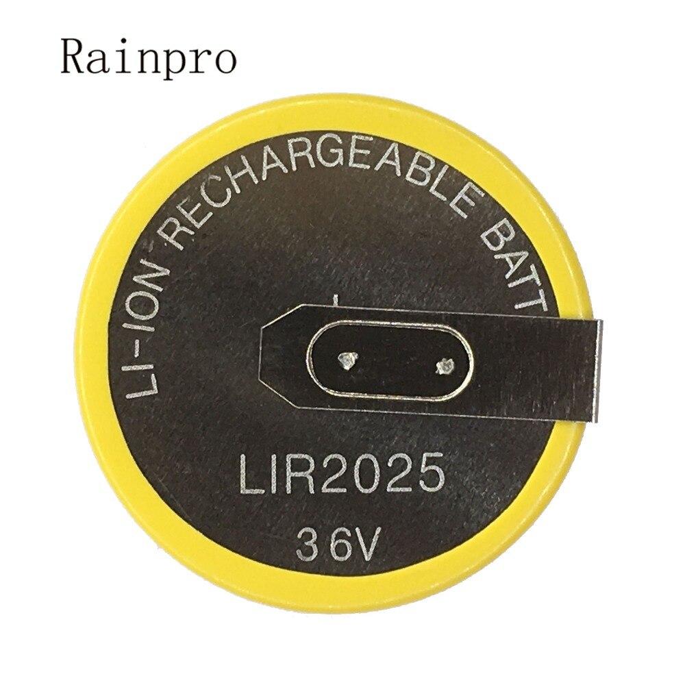 Rainpro 2pcs/lot LIR2025 2025 90degree s pins Rechargeable battery for Automobile remote control key