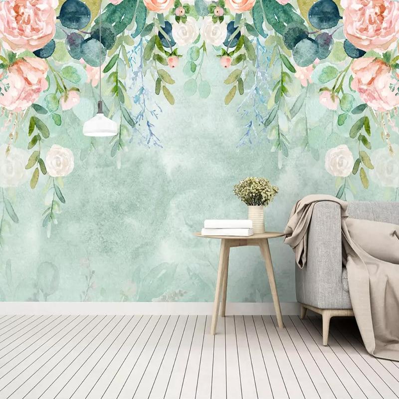 Пользовательские фотообои любого размера современные акварельные листья фото настенная живопись Гостиная ТВ диван спальня Свадебный дом 3D декор