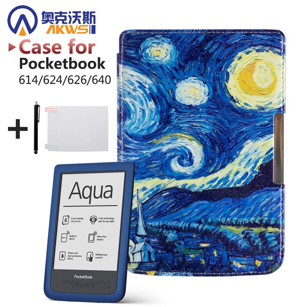 Carcasa protectora para pocketbook 614/624/626/640 Funda de cuero pu de lujo funda de lector electrónico shipp + película protectora + stylus