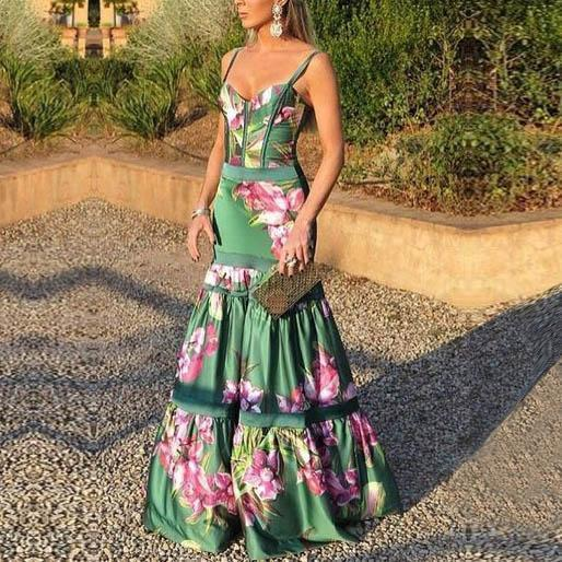 ZOGAA Evening Party Dresses Women Natural Silk Dress Retro Floral Print Maxi Dress Ladies Strap Pleated Plus Size Dress Vestidos