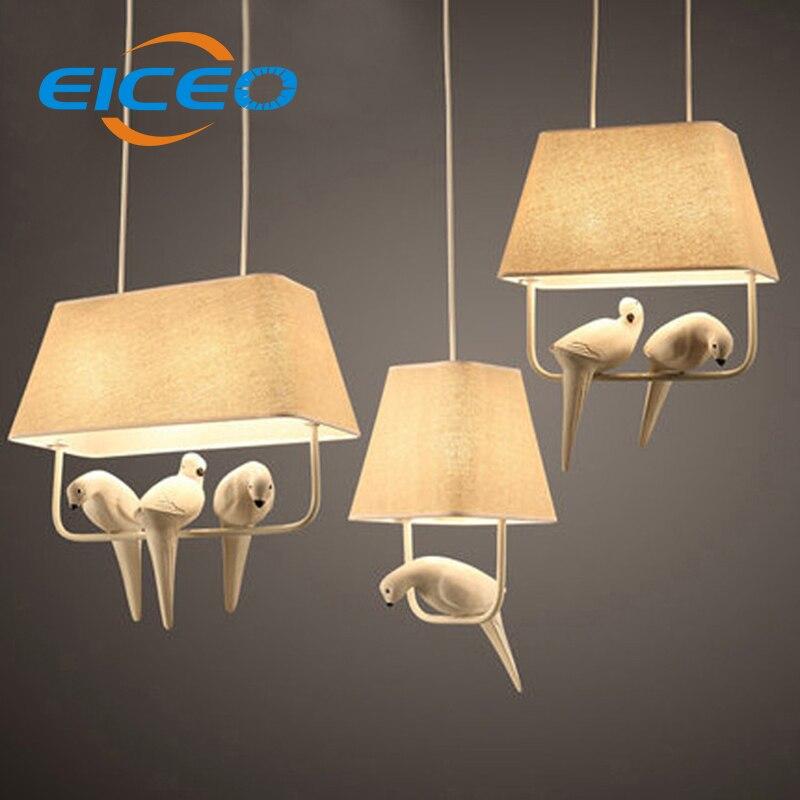 (Eiceo) campo estilo moderno led luz pingente e14 suporte da lâmpada de metal/pano art deco lâmpada novelty interior gaiola luz
