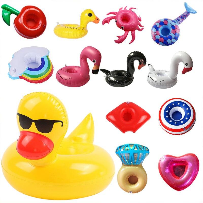 Chaude gonflable piscine flotteur tasse boisson flotteur support flamant beignet piscine flotteur natation anneau fête jouets plage accessoires