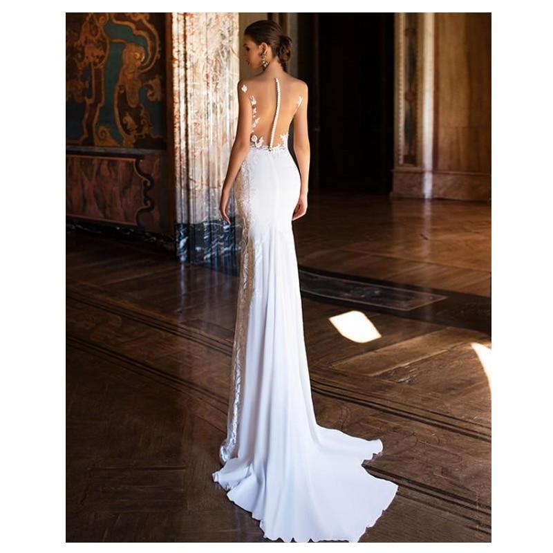 Купить с кэшбэком 2019 White Lace beach Wedding Dresses Lace Appliques lORIE Mermaid Bride Gowns Sexy See Through Floor Length Wedding Gowns