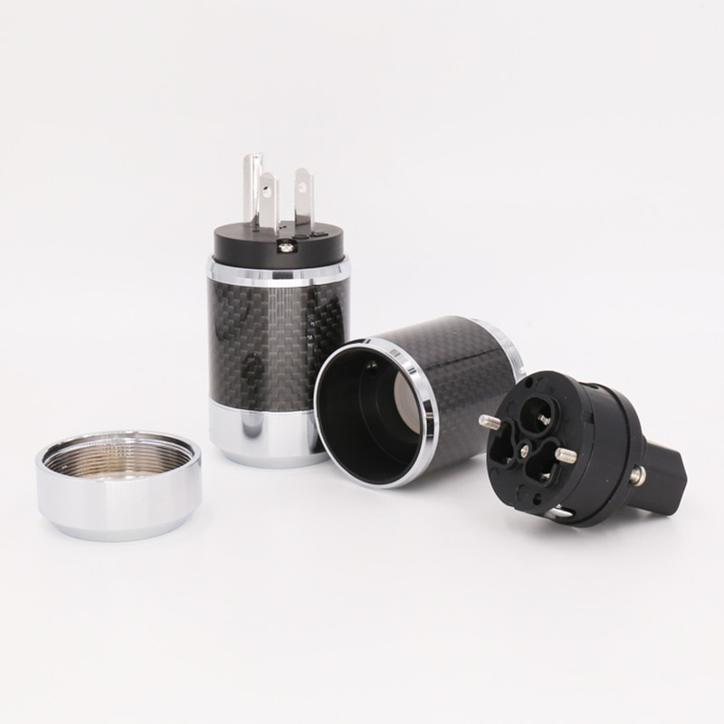 One pair Copper Rhodium Carbon us AC Power Plug Pure Copper With Rhodium plated AC US power plug