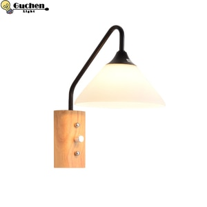 LED Wall Lamps Abajur for Living Room Wall Sconces Light E27 Nordic Wooden bedside Wall Light corridor hotel Decoration Nordic