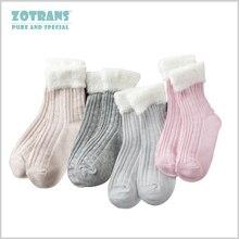 4 пара/лот, носки для маленьких девочек Однотонные Мягкие хлопковые носки для малышей на осень и зиму детские носки для новорожденных носки ...