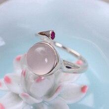 Véritable solide 925 argent fête femmes anneaux naturel Rose Quartz pierre réglable Bijoux fins Bijoux