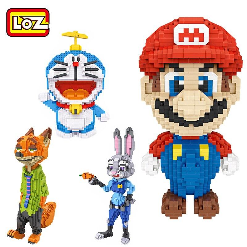 LOZ mini Blocks Super Mario Building Blocks Zootopia Judy Nick Rabbit Fox Doraemon Bricks Figure LOZ Blocks Set Toys 9040 9029