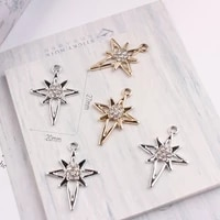 new alloy metal pendants silver gold color enamel charms crosses star dangle charm with rhinestone charms for diy jewelry makin