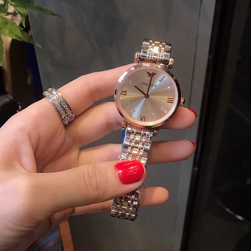 Часы женские кварцевые из нержавеющей стали, люксовые Модные Простые ультратонкие