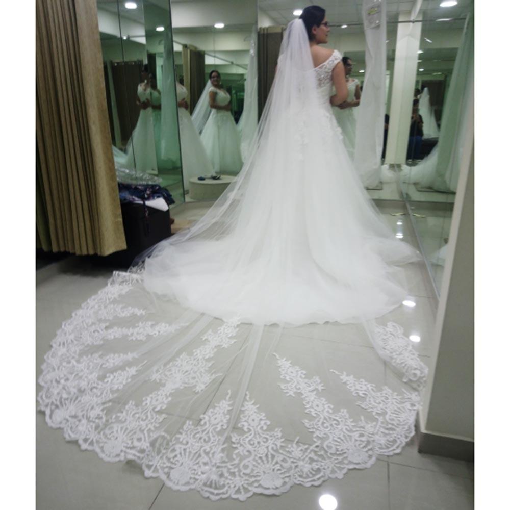 Veu دي Noiva طويل 4M الزفاف الحجاب مع مشط عالية الجودة الدانتيل واحد الطبقة الأبيض العاج الزفاف الحجاب Welon
