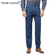 High Waist Mens 100% Cotton Jeans 2019 New Summer Lightweight Jeans Pants Classic Men Designer Patns Baggy Male Denim Overalls
