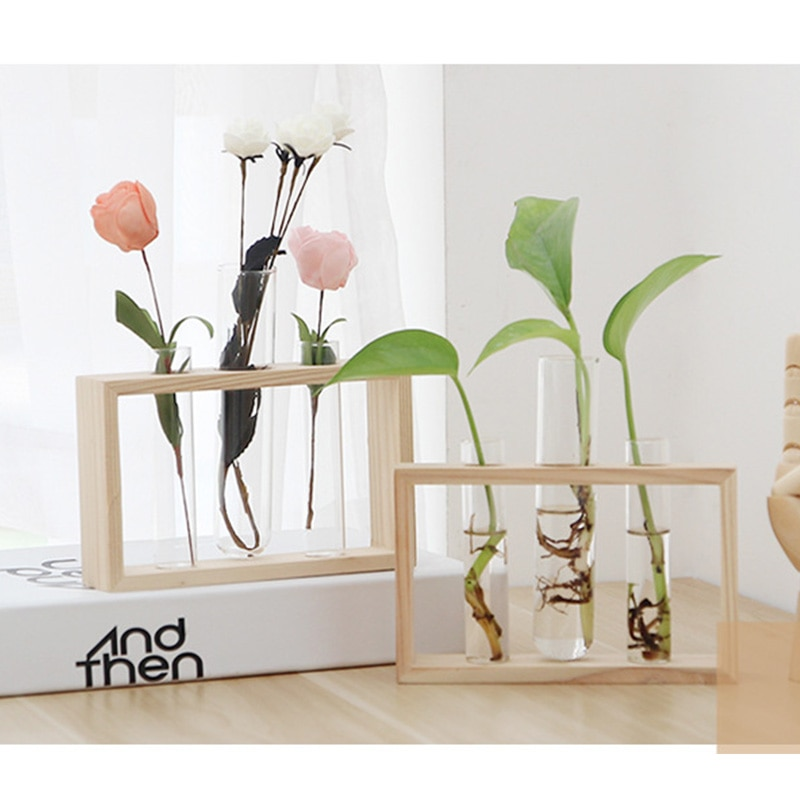 Простая Скандинавская стеклянная ваза для цветов, гидропонный Террариум, держатель для контейнера, Декор, бутылка-трубка для спальни, гостиной, домашнего декора стола