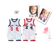 spring summer newborn baby romper cotton clothes short sleeve infant girl boy jumpsuit child basketball thin crawling clothes