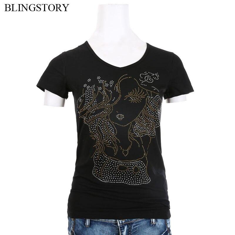 BLINGSTORY New Summer tee shirt femme Rhinestone Diamond T-shirt Women Glitter Street-wear short Sleeve Large Size Tops S-6XL