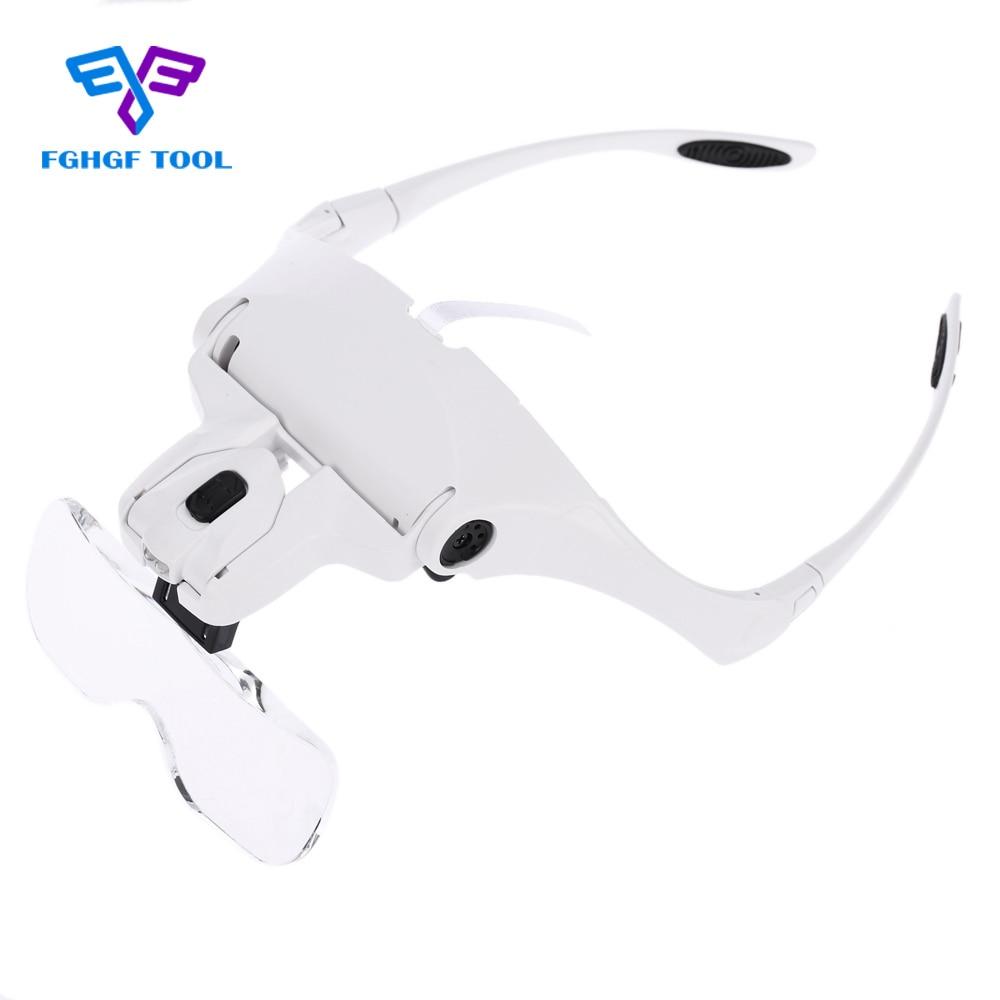 FGHGF diadema lupa de ojo 5 lente ajustable soporte de microscopio gafas portátiles lupa herramienta de aumento luces LED