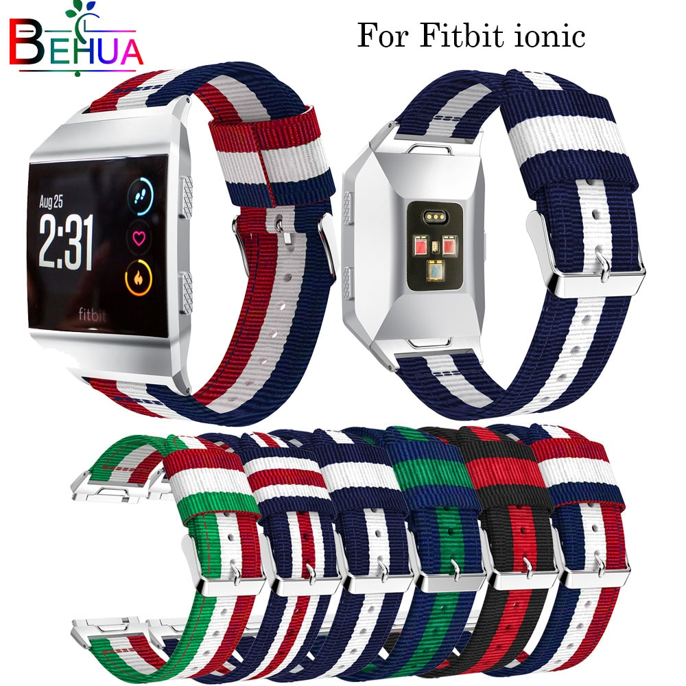 Nylon watchband Adjustable strap For Fitbit Ionic Replacement smart Sport Strap wristband For Fitbit Ionic smart watch band watch strap new accessory watch strap solid stainless steel fashion luxury women metal strap bands for fitbit ionic strap