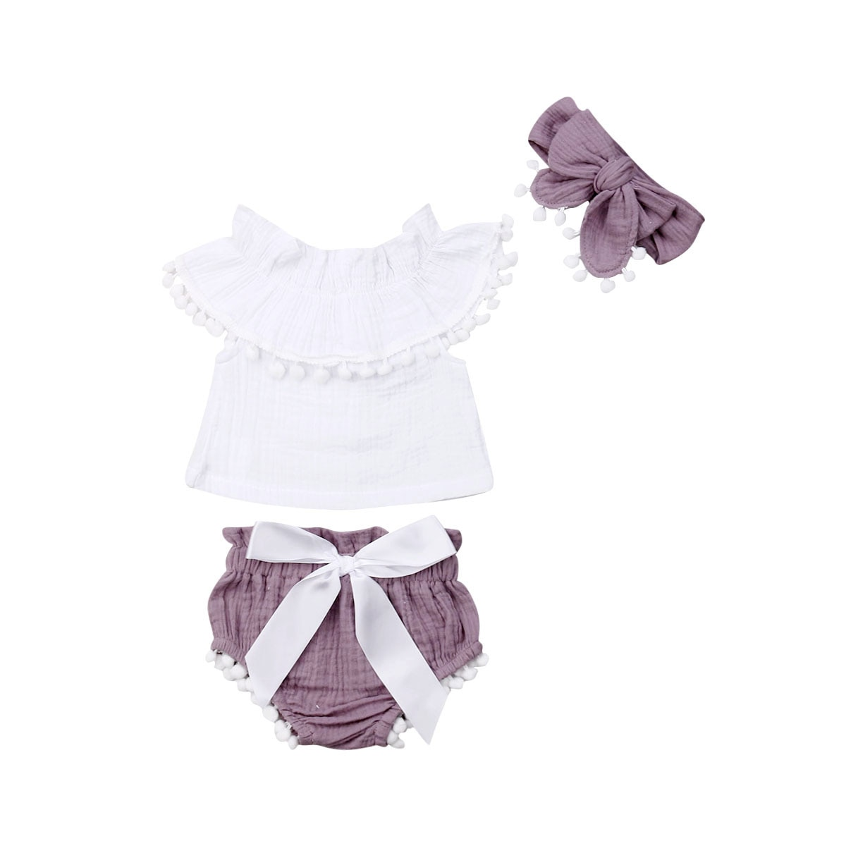 Conjunto de 3 Uds de ropa de verano de 0-24 M, camiseta blanca con bola de borla sin mangas para recién nacidos, Pantalón corto con moño y diadema