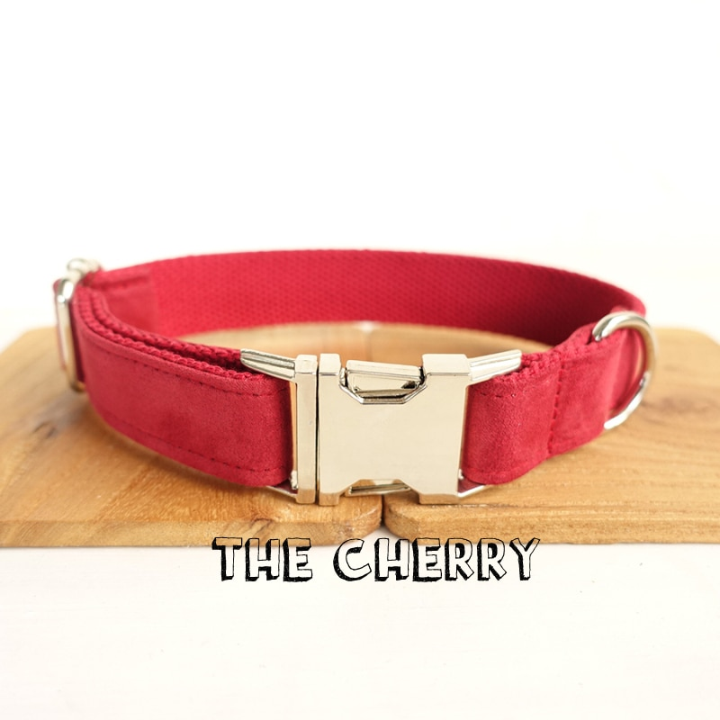 Conjunto de Collar y correa de nailon de diseño para perros y mascotas, conjunto de correa con lazo de moda envuelto en tela roja para perros pequeños y medianos