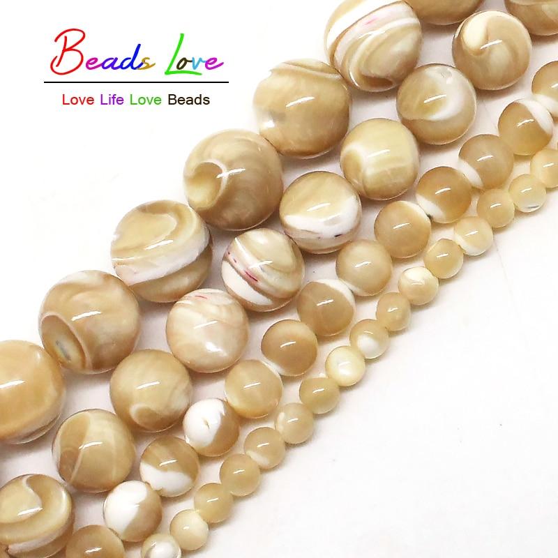 Piedra Natural Trochus Shell 4/6/8/10mm cuentas redondas sueltas de 15 pulgadas/hilo para mujeres, fabricación de joyería, collar de pulsera DIY (F00578)