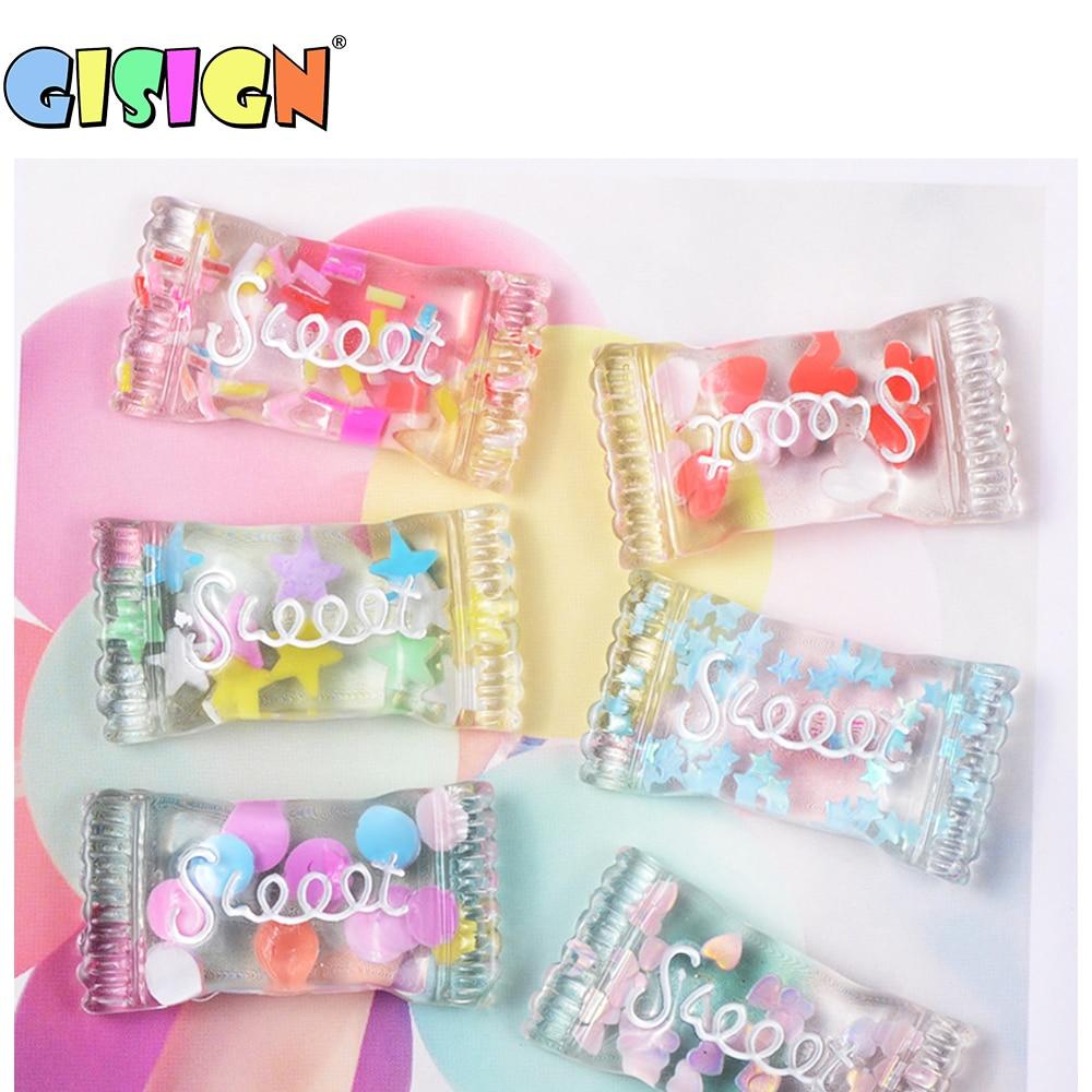 6 piezas de cristal de caramelo además para limo esponjoso accesorios encantos antiestrés grano de DIY de juguetes suave modelado de arcilla limo Kit