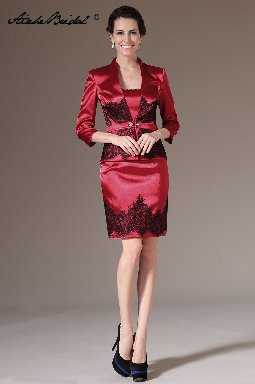 Real Photos NEW Elegant Above Knee Strapless Burgundy Satin Black Lace Short Mother of the Bride Dresses with Jacket