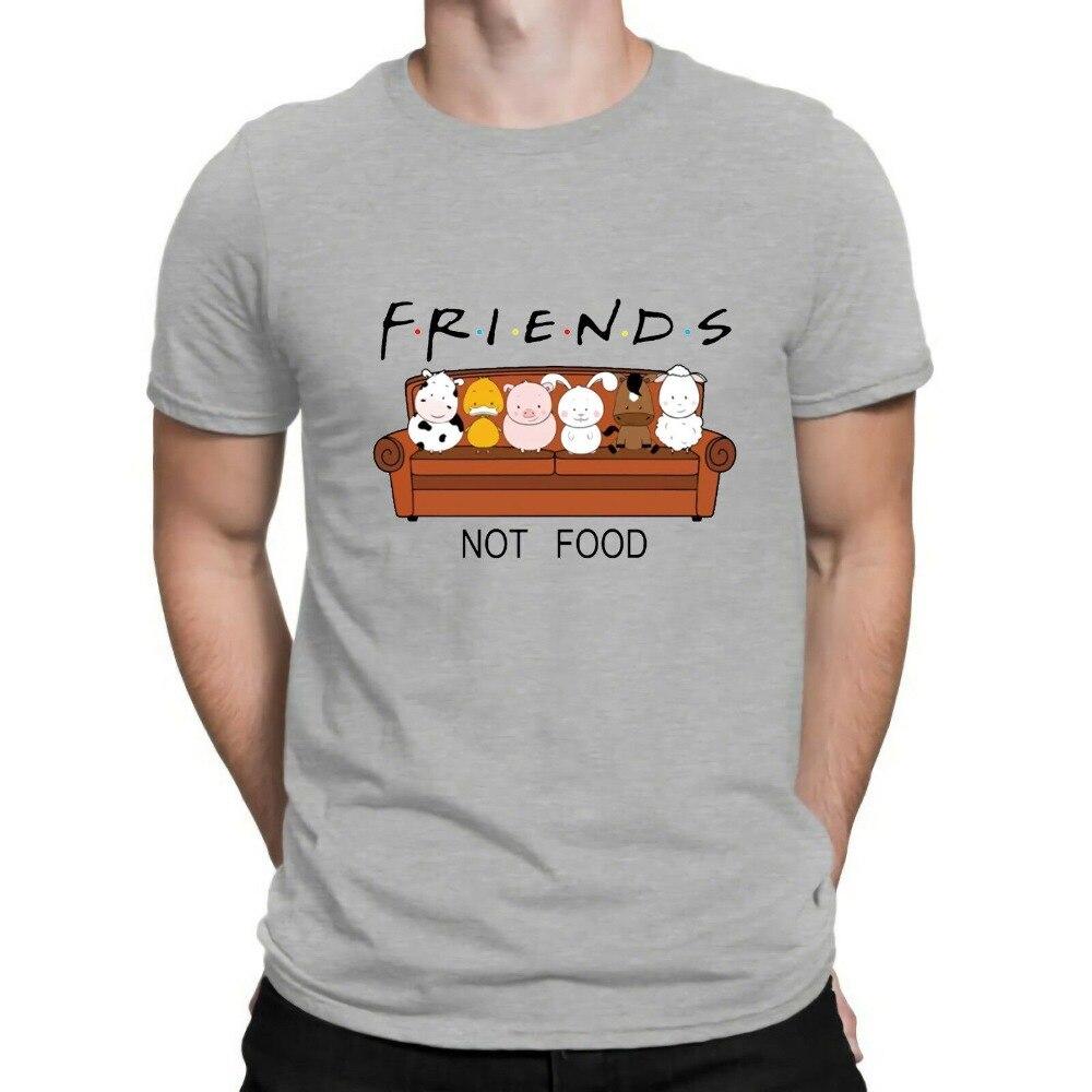 New Animal Friends Not Food Funny Parody T Shirt Vegan Vegetarian No Meat Men Fashion Short Sleeve O-Neck Cotton Print T Shirt