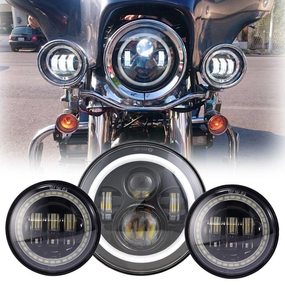Faro LED de 7 pulgadas, Ojo de Ángel Blanco, anillo halo DRL + luz antiniebla de 4,5 pulgadas, lámparas de cruce, Ojos de demonio rojos para motocicleta