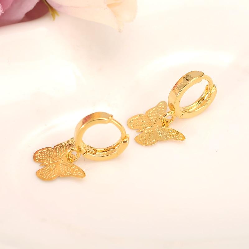 Pendientes colgantes de oro dubai india pequeños encantadores mariposa joyería de moda de las mujeres Metal dorado pendientes de gota para Regalos Boda nupcial