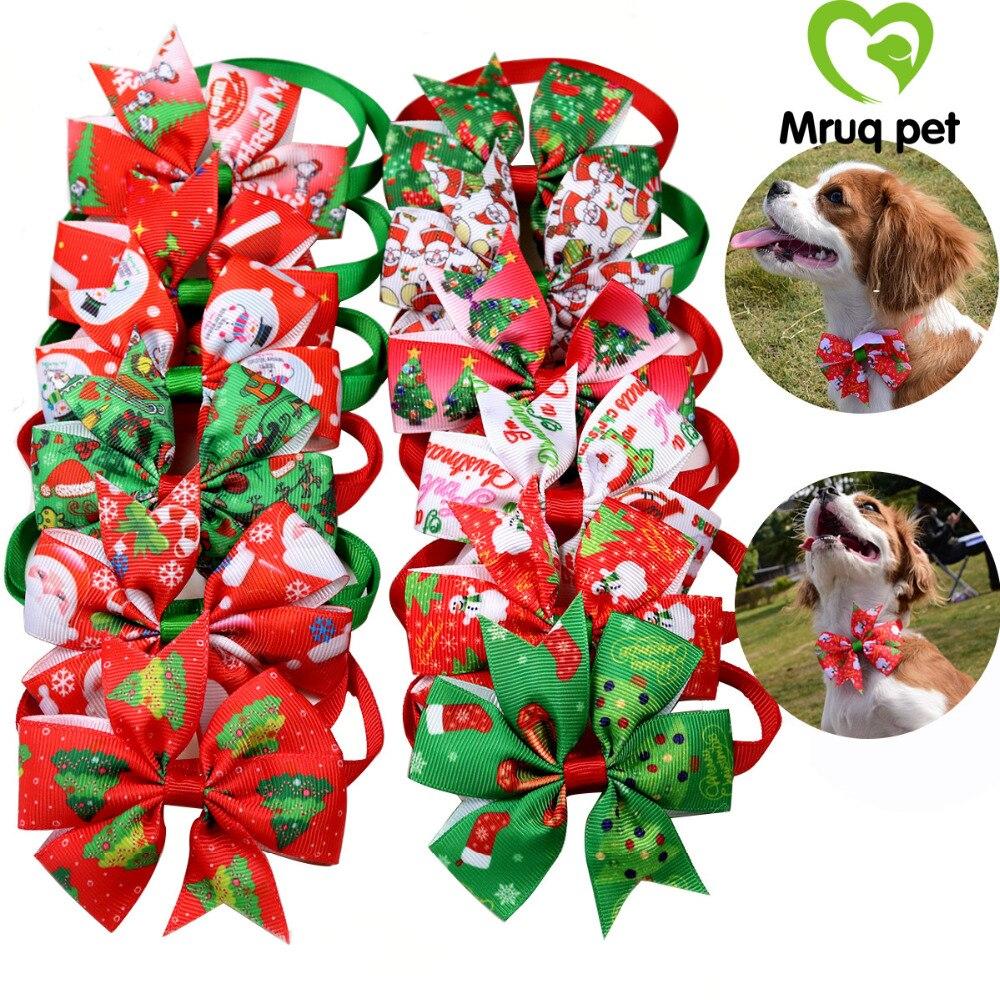 12pcs Christmas Pet Puppy Dog Cat BowTies Adjustable Dog Holiday Bowties Dog Collar Dog Accessories
