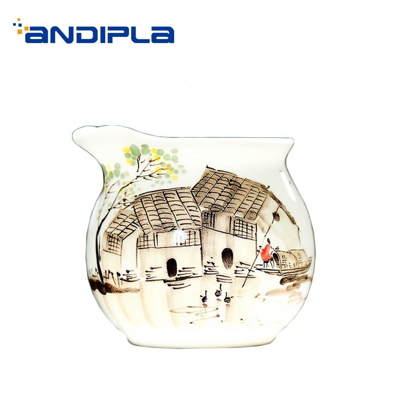 200 мл фарфоровая чашка Jingdezhen, ручная роспись, ландшафтный узор, Cha Hai, домашняя винтажная посуда для напитков, аксессуары для чайной церемонии...