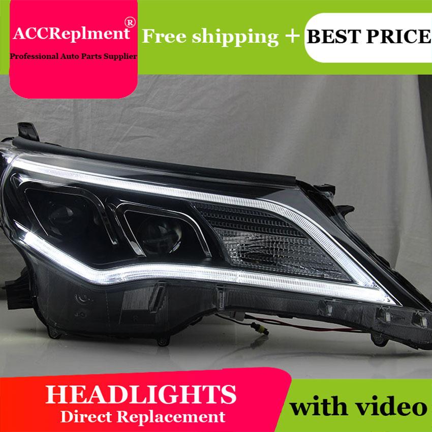 Estilo do carro para toyota rav4 faróis u angel eyes 2013-2015 para rav4 led barra de luz q5 bi xenon lente projetor lâmpada led