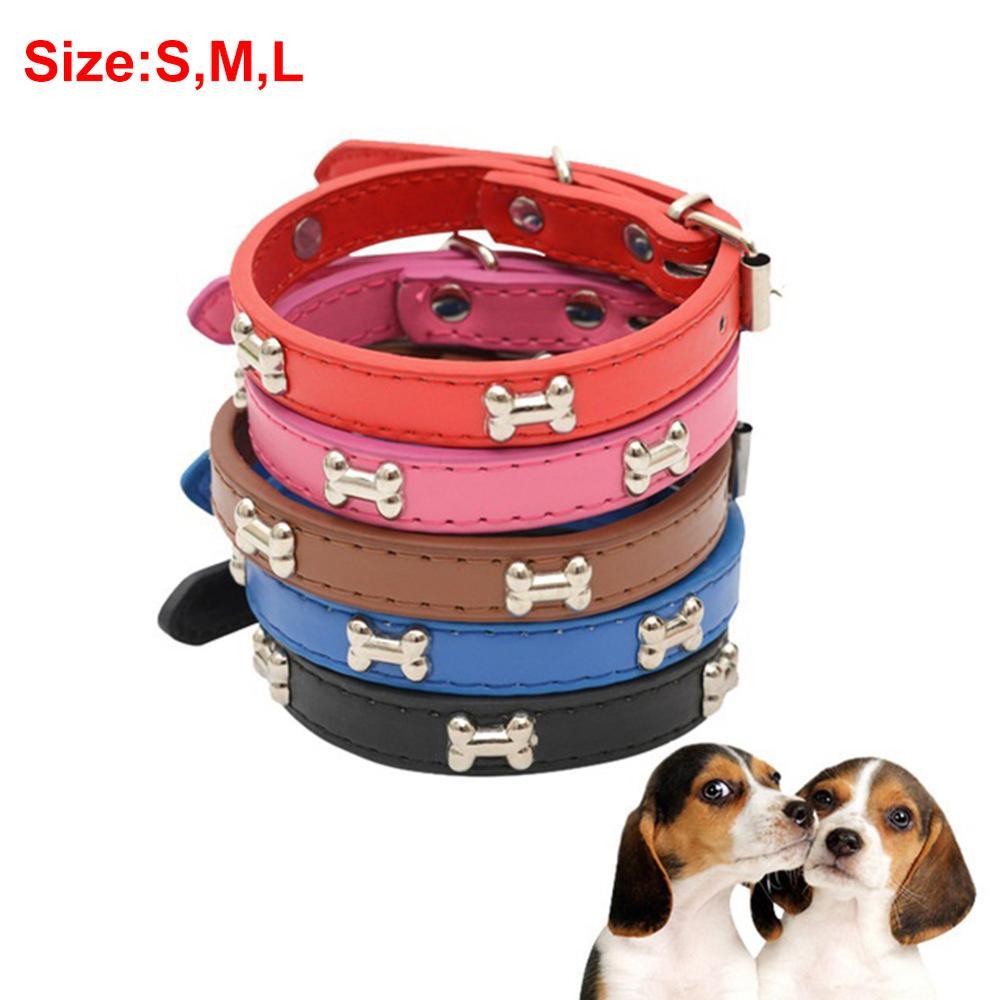 4 tipos 3 tamaño nuevo Collar de hueso de PU Collar de perro de hierro Multicolor accesorios de mascota por mayor