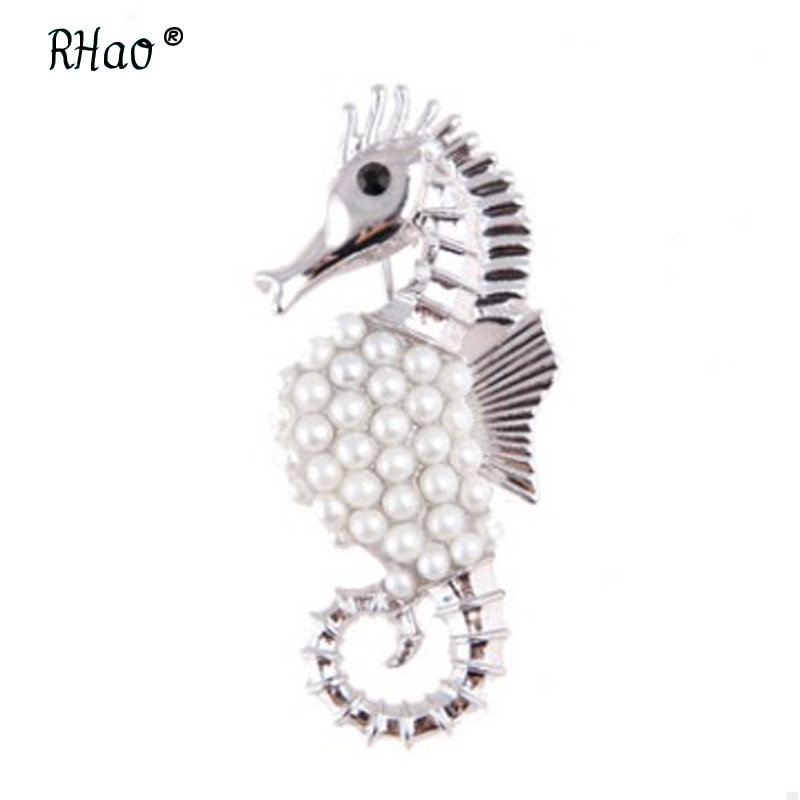 Broche de caballito de mar perla de moda perlas Animal Unisex joyería de moda mujer prenda bufanda de accesorio regalo
