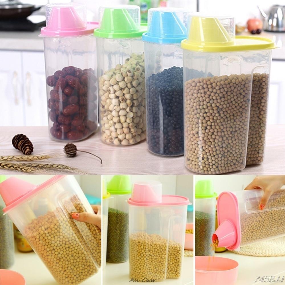 Сушеная пищевая крупа мука паста диспенсер для хранения еды контейнер для риса герметичная коробка 1.9л Прямая поставка