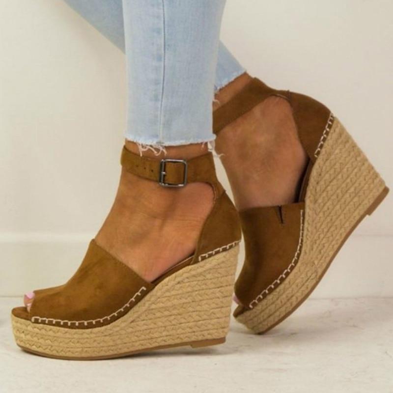 Весенние женские сандалии, повседневные парусиновые туфли на танкетке с пряжкой и ремешком на щиколотке, туфли-лодочки на платформе с высок...