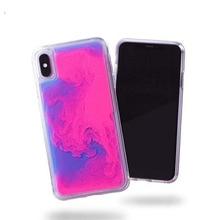 Luxus Neon Glow in Dunkelheit Noctlucent Glitter Flüssigkeit Luminous Sand quicksand telefon Fall Für iPhone 6 7 8 Plus X XS XR MAX
