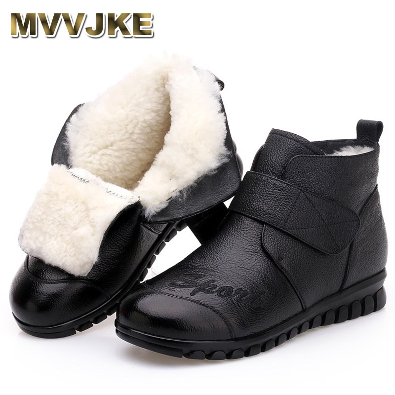 MVVJKE, 2018, Botas de nieve para Mujer, 100% de piel auténtica, piel de lana Natural, botines cálidos de invierno para Mujer, zapatos planos, Botas para Mujer E008
