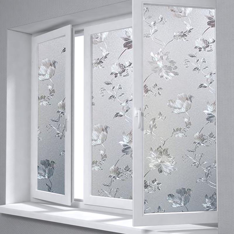 Hibisco flor Patten ventana película Frosted privacidad 3D estática adherente privacidad vidrio de protección para sala de reuniones Fensterfolie