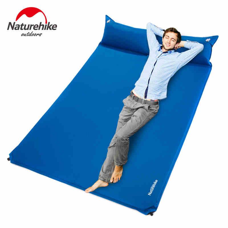 Colchón inflable automático de alta densidad de PU con doble almohadilla humectante para acampada, colchón inflable que se puede unir con almohada