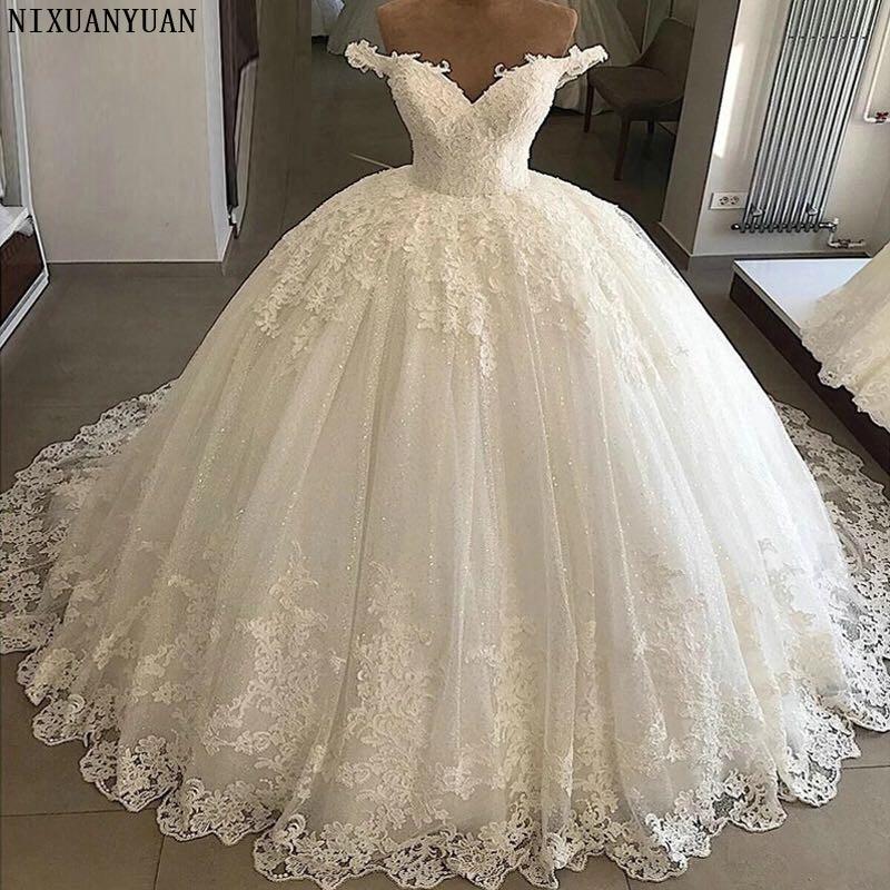 Vintage Vestidos De Novia Casamento 2021 Bridal Gowns Ball Gown Lace Applique Wedding Dress Robe De