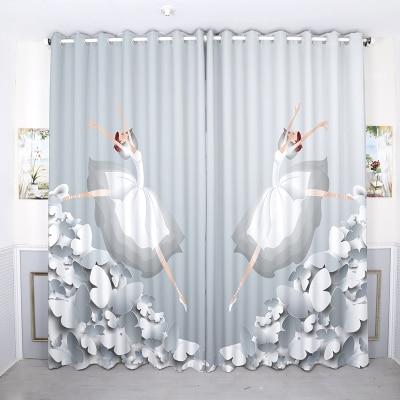 Cortina de ventana de ojal hecha a medida 2x, cortina de ventana de salón, vestidor de ventana de tul 200x260cm, bailarina de Ballet rosa, blanco y negro