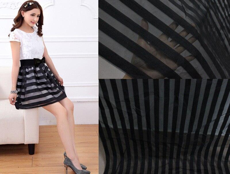 Tecido de renda preta Stripe transparente rendas de fios jacquard tecido de organza sopro saia de renda tecido 150 cm de largura 2 metros / Lot